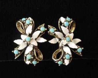 White Enamel and Turquoise Rhinestone Victorian Revival Earrings