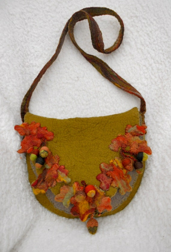 Autumn Leaves A Wet Felted Hand Felted Shoulder Bag In By