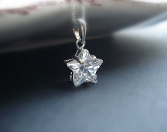 Crystal Star Necklace In Sterling Silver, Star Pendant, Cubic Zirconia, Delicate Everyday Jewelry, Modern