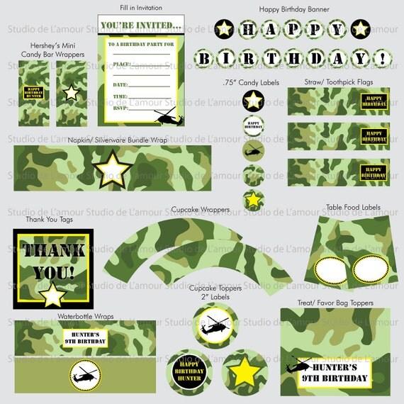 Items similar to PRINTBLE PDF Camo/ Army Theme DIY Party ...