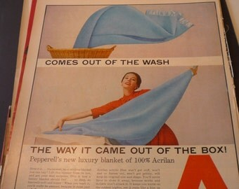 Vintage Ad - - 1950s Housewife - - original ad - no wrinkle Acrilan fabric