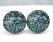 Vintage map cufflinks - Whidbey Island and Port Townsend, Washington 1922 map - silver-plated round cuff links