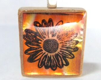 Copper Daisy - flame treated glowing metallic Scrabble tile pendant