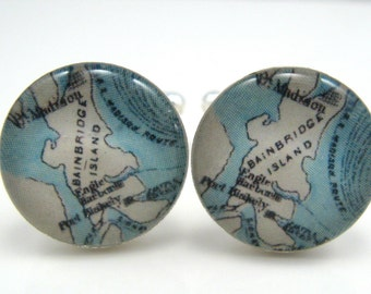 Vintage map cufflinks - Bainbridge Island 1890s - silver-plated round