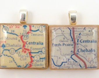 Centralia & Chehalis, Washington - your choice of 1952 or 1962 Scrabble tile map pendant