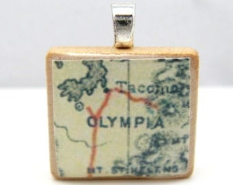 Tacoma and Olympia, Washington - Scrabble tile pendant from 1890 map
