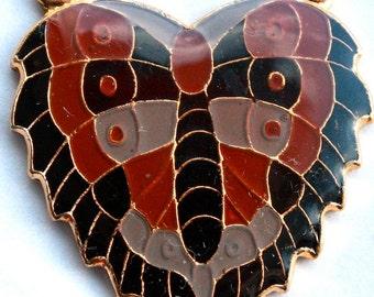 1 Vintage 1970s Art Nouveau Enamel Butterfly Heart Pendant // Rene Lalique Style Jewelry