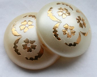 5 Pearly Cabochons 1950's / 60s Pearly Cabochons with Gold Floral Detailing