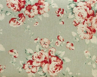 Romantic Floral, Lucie Bouquet Mint Green Linen  145cm WIDE, U7035