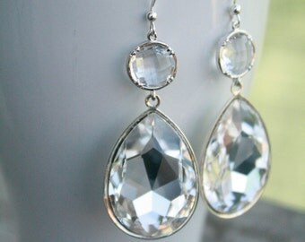 Large Sparkling Clear Swarovski Rhinestone Earrings, Wedding, Bridal, Bridesmaid