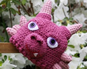 Little Lady Dragon Hat, Dragon Hat, Pink Dragon, Crochet Beanie, Toddler Dragon, Halloween Costume, Girls, Holiday Gift, Monster Hat