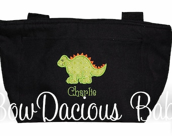 Personalized Dinosaur Lunch Bag or Tote, Custom Colors and Name, Boys or Girls