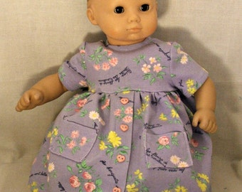 Purple floral knit dress fits American Girl or Bitty Twin Girl
