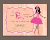 Crowned Teen with Braids - Birthday Party Invitations - African American