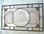 Stained Glass Panel with Pink Depression Glass Home Decor Window Hanging