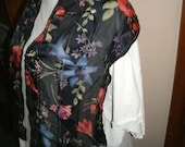 Laura Ashley Black 100% Silk Scarf with bright floral motif