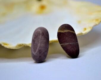Mermaid Post Earrings - STONES - Organic Sea Pebbles Earrings with Genuine Natural Amalfi Sea Pebbles / recycle / reuse / nr109