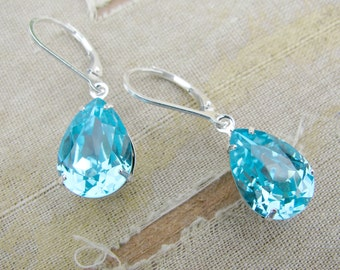 Swarovski Pear Teardrop Earrings-Adela Collection-Light Turquoise with Sterling Silver
