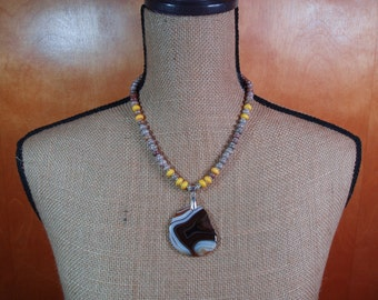 Natural Jasper and Yellow Turquoise Rondelles, Crazy Legs Agate Pendant .925 Sterling Silver Necklace and Earrings