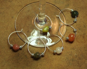 25mm .925 Silver and Stone Wine Glass Charms