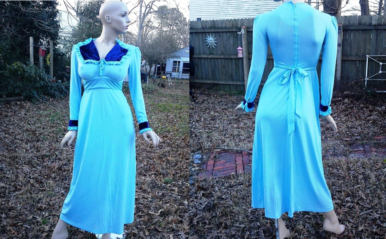70s Prom Dress Vintage Bridesmaid Dress 70s Maxi Dress 70s