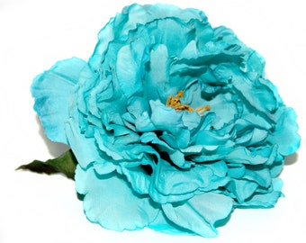 1 Bright Turquoise Peony  -Boutique Silk Flowers, Artificial  Flower Heads - PRE-ORDER