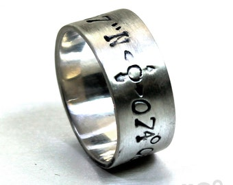 Ring band 8mm with 2 engraving included, longitude and latitude engraved, sterling silver, coordinate ring,