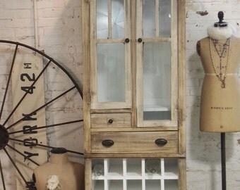 Vintage Painted Cottage Shabby Handmade Farmhouse Cabinet CC30