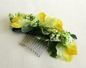 Yellow Sweet Pea Silk Flower and Light Green Berry Bridal Hair Comb - Spring Blossom