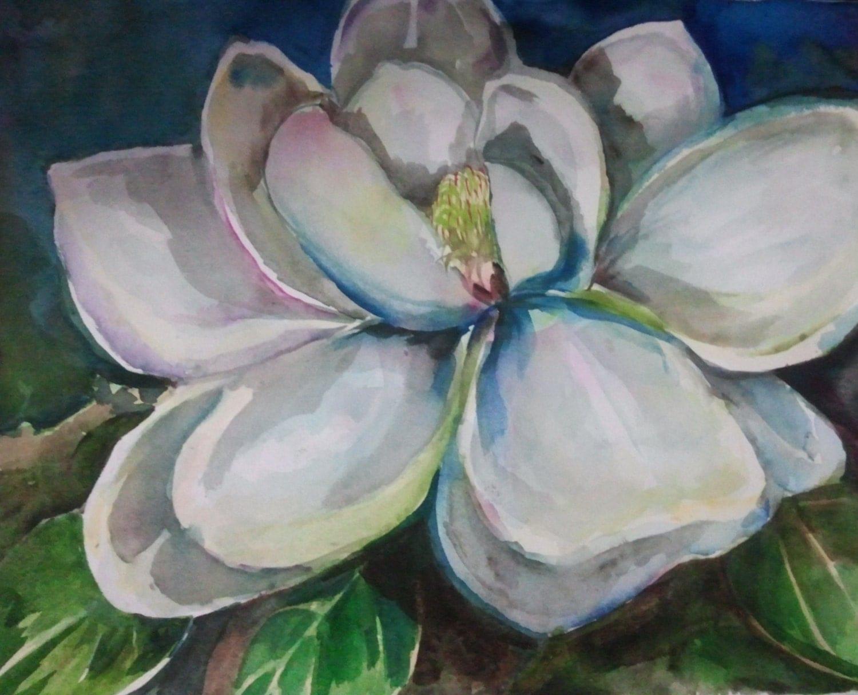 Watercolor flower painting White Magnolia by VargasArtstudio