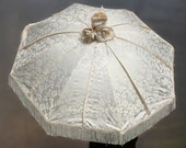 Ivory Silk Brocade Wedding Parasol