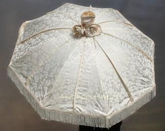 Ivory Silk Brocade Wedding Parasol