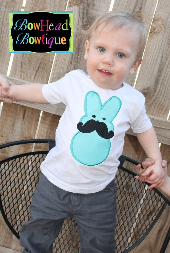 Items similar to Easter Peep With Mustache White Applique ...