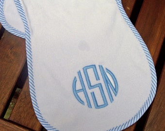 Classic Monogrammed Burp Cloth - Pink or Blue - Monogrammed Baby Gift