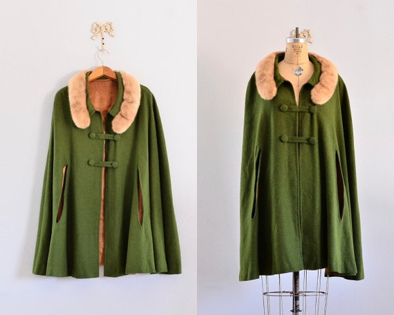 moss green woolen cape with fur trim on neckline