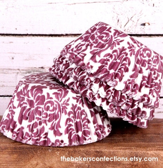 Burgundy Damask Cupcake Liners, Baking Cups (200 COUNT)