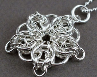 Celtic Visions Star Pendant. Sterling silver chainmaille.