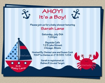 Digital Nautical Baby Shower Invitation, Crab and Boat Invite, Digital File, Print Yourself, DIY, FAST Delivery