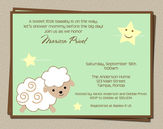 little lamb baby shower invitations printed invites free shipping