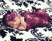 Newborn Lace Wrap, Baby Girl Wrap, Plum Purple Newborn Wrap, Newborn Girl Props, Baby Stretch Wrap, Lace Baby Wrap, Stretchy Baby Wrap