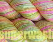 Fingering Weight Handpainted Sock Yarn in Mango Tango Superwash Yellow Pink Green