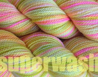 Fingering Weight Handpainted Sock Yarn in Mango Tango Superwash Yellow Pink Green