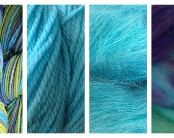 Hand Dyed Samples of Merino Wool DK Sport Weight Yarn in Mermaid Cove