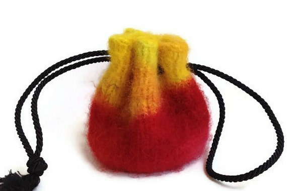 Felted Drawstring Bag Multi-Colored Yellow and Red