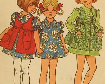 Vintage Girls Dress and Smock Sewing Pattern Simplicity 5277  Size 6 1970s