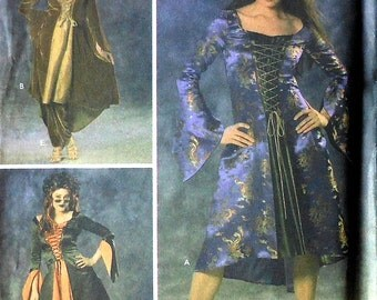 Wench Costume Sewing Pattern UNCUT Simplicity 4959 Sizes 14-20 pirate dress hooded