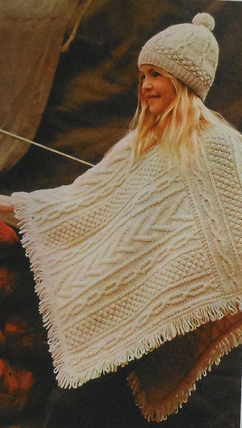 Knitting Pattern Aran Cable Hat : Vintage Childs Aran Poncho and Hat Knitting Pattern retro 70s