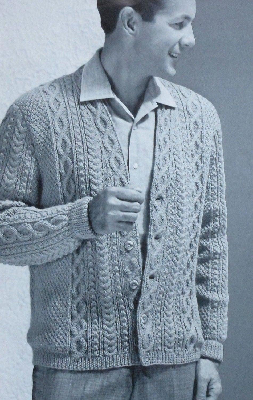 Vintage Men S Aran Style Cardigan Sweater Knitting Pattern