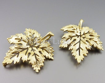 2 nature inspired golden maple leaf pendants / fallen autumn leaves 1577-MG