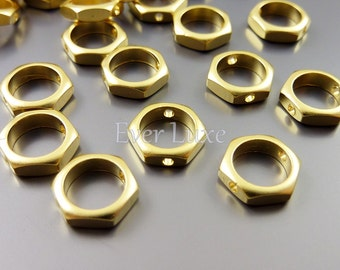 4 bolt shaped spacer beads for nuts and bolts designs - hexagon bracelet beading supplies for making jewelry 1868-MG